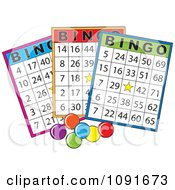 Clipart Three Colorful Bingo Cars With Stars Royalty Free Vector Illustration