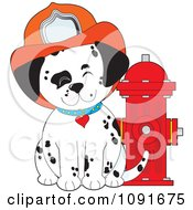 Clipart Happy Fire Department Dalmatian Puppy By A Hydrant Royalty Free Vector Illustration