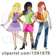 Clipart Three Fashionable Young Ladies Posing Royalty Free Vector Illustration by Maria Bell