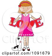 Clipart Puppy Looking Up At A Valentine Girl Holding A Cutout Of Love Royalty Free Vector Illustration