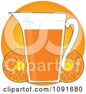Pitcher Of Orange Juice With Fruits Over A Circle