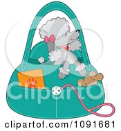 Clipart Prissy Gray Poodle Waiting In A Purse Royalty Free Vector Illustration by Maria Bell