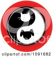 Clipart Red Black And White Cat And Dog Yin Yang Circle Royalty Free Vector Illustration
