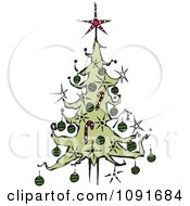 Clipart Christmas Tree With A Red Star Topper Royalty Free Vector Illustration