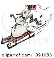 Clipart Snowman Sledding Down A Hill Royalty Free Vector Illustration by Steve Klinkel