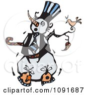 Clipart Bird Perched On A Snowman Royalty Free Vector Illustration by Steve Klinkel