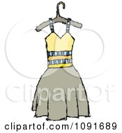 Clipart Yellow And Tan Dress On A Hanger Royalty Free Vector Illustration by Steve Klinkel