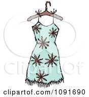 Clipart Orange Flower And Turquoise Dress On A Hanger Royalty Free Vector Illustration by Steve Klinkel