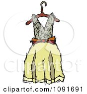 Clipart Tan And Yellow Dress On A Hanger Royalty Free Vector Illustration by Steve Klinkel