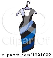 Clipart Blue Diagonal Striped Dress On A Hanger Royalty Free Vector Illustration by Steve Klinkel