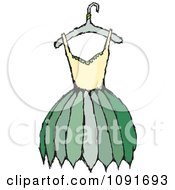 Clipart Yellow And Green Dress On A Hanger Royalty Free Vector Illustration by Steve Klinkel