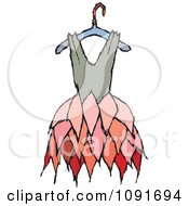 Clipart Tan And Pink Dress On A Hanger Royalty Free Vector Illustration by Steve Klinkel