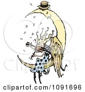 Clipart Angel Playing A Violin For A Sleeping Moon Royalty Free Vector Illustration by Steve Klinkel