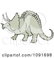 Clipart Green Triceratops Dinosaur Royalty Free Vector Illustration by Steve Klinkel