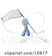 Blue Man Claiming Territory Or Capturing The Flag Clipart Illustration by Leo Blanchette
