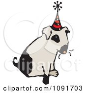 Clipart Dog Sitting And Wearing A Party Hat Royalty Free Vector Illustration by Steve Klinkel