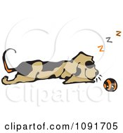 Clipart Dog Sleeping By A Ball Royalty Free Vector Illustration by Steve Klinkel