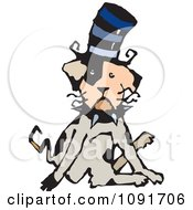 Clipart Dog Sitting Funny And Wearing A Top Hat Royalty Free Vector Illustration by Steve Klinkel