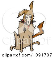 Clipart Sick Dog Sitting Royalty Free Vector Illustration by Steve Klinkel
