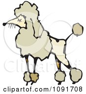 Clipart Prissy Beige Poodle Dog Royalty Free Vector Illustration