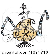 Clipart Floral Tea Pot Royalty Free Vector Illustration