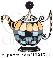 Clipart Blue And Orange Tea Pot Royalty Free Vector Illustration by Steve Klinkel