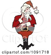 Clipart Thoughtful Santa Royalty Free Vector Illustration by Steve Klinkel