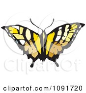 Clipart Brown And Yellow Butterfly Royalty Free Vector Illustration