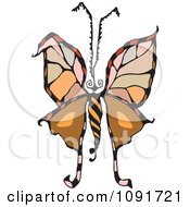 Clipart Colorful Moth Or Butterfly Royalty Free Vector Illustration by Steve Klinkel