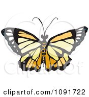 Clipart Beige And Yellow Butterfly Royalty Free Vector Illustration