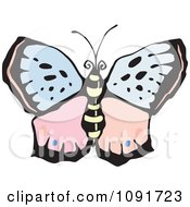 Clipart Pink And Blue Butterfly Royalty Free Vector Illustration