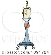 Clipart Beige Candle Burning On A Holder Royalty Free Vector Illustration