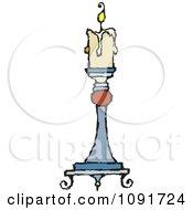 Clipart Beige Candle Burning On A Holder Royalty Free Vector Illustration by Steve Klinkel