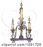 Clipart Yellow Candles Burning On A Candelabra Royalty Free Vector Illustration by Steve Klinkel