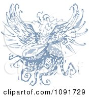 Clipart Blue Angel Playing A Guitar Royalty Free Vector Illustration