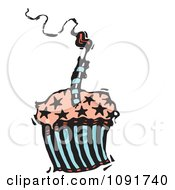 Clipart Starry Birthday Cupcake With A Smoking Candle Royalty Free Vector Illustration