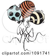 Clipart Three Patterned Party Balloons Royalty Free Vector Illustration