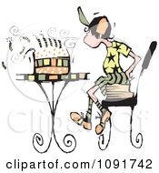 Boy Sitting On Books And Blowing Out The Candles On His Birthday Cake