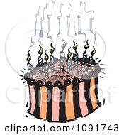 Clipart Striped Birthday Cake With Smoking Candles Royalty Free Vector Illustration