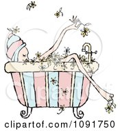 Clipart Relaxed Woman Soaking In A Floral Bath Royalty Free Vector Illustration