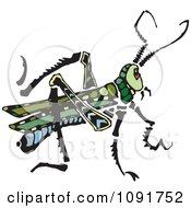 Clipart Green Grasshopper Royalty Free Vector Illustration by Steve Klinkel