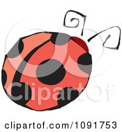 Clipart Round Ladybug With Black Spots Royalty Free Vector Illustration