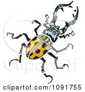 Clipart Yellow Beetle With Spots Royalty Free Vector Illustration by Steve Klinkel