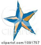 Clipart Blue And Orange Star Royalty Free Vector Illustration