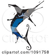 Clipart Leaping Blue Marlin Royalty Free Vector Illustration