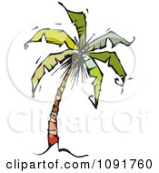 Clipart Tropical Palm Tree Tilting To The Right Royalty Free Vector Illustration