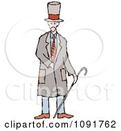 Clipart English Man Holding A Cane Royalty Free Vector Illustration