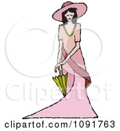 Clipart English Lady Holding A Parasol Royalty Free Vector Illustration