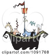 Clipart Animals And Noah On An Ark Royalty Free Vector Illustration