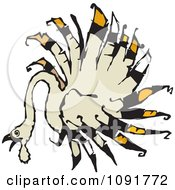 Clipart Turkey Bird With Radial Feathers Royalty Free Vector Illustration